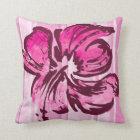 Watercolor Hibiscus Reversible Square Pillow