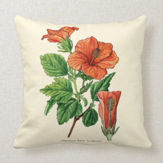 Watercolor Hibiscus Throw Pillow