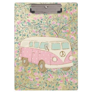 Watercolor Hippy Van Pink Flowers Gold Glitter Clipboard