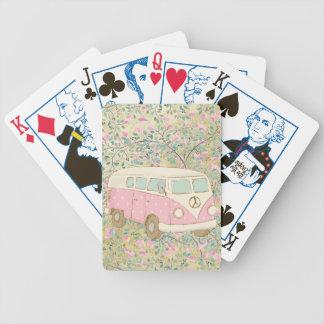 Watercolor Hippy Van Pink Flowers Gold Glitter Poker Deck