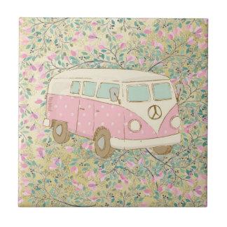 Watercolor Hippy Van Pink Flowers Gold Glitter Tile
