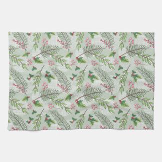 Watercolor Holiday Evergreens Pattern Kitchen Towel