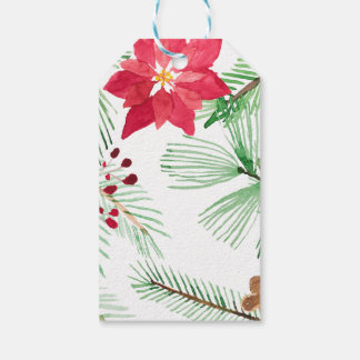Watercolor Holiday Repeating pattern Poinsettia Pack Of Gift Tags