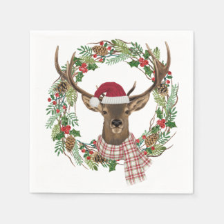 Watercolor holiday wreath with deer head disposable napkins
