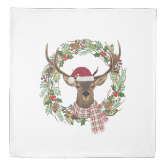 Watercolor holiday wreath with deer head duvet cover