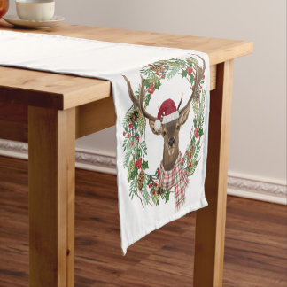 Watercolor holiday wreath with deer head short table runner