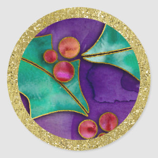 Watercolor Holly Berries Purple Green Red Holiday Round Sticker