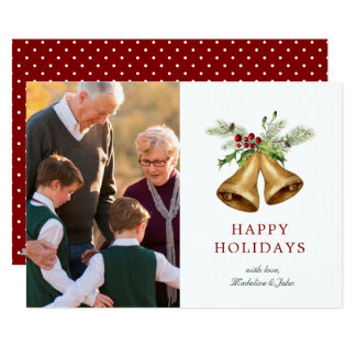 Watercolor Holly Christmas Bells Card