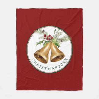 Watercolor Holly Christmas Bells Fleece Blanket