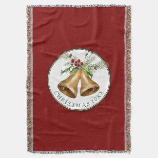 Watercolor Holly Christmas Bells Throw Blanket