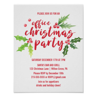 Watercolor Holly Company Christmas Party Invite Poster