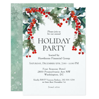 Watercolor Holly Festive Holiday Party Card