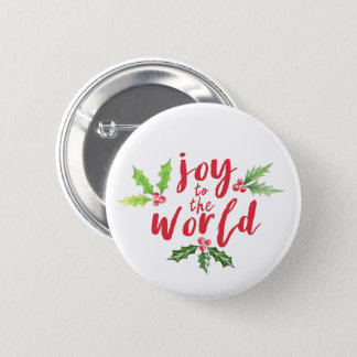 Watercolor Holly Joy to the World Christmas 2 Inch Round Button