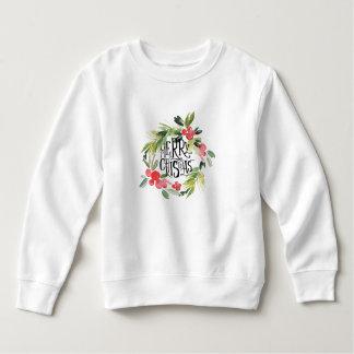 Watercolor Holly Merry Christmas Wreath Sweatshirt