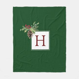 Watercolor Holly & Mistletoe Pine Cone Decoration Fleece Blanket