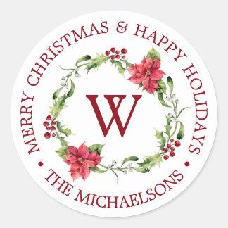 Watercolor Holly Mistletoe Wreath Classic Round Sticker