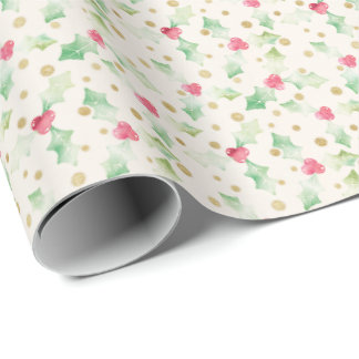 Watercolor Holly on Vintage Paper Wrapping Paper