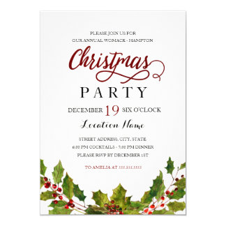Watercolor Holly Wreath Christmas Party Invitation
