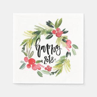Watercolor Holly Wreath Happy New Year 2018 Napkin