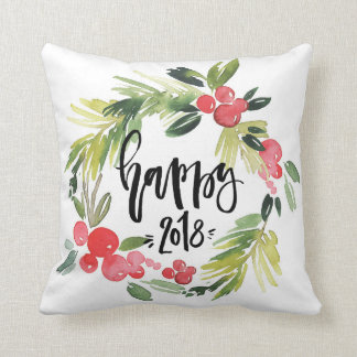 Watercolor Holly Wreath Happy New Year 2018 Throw Pillow