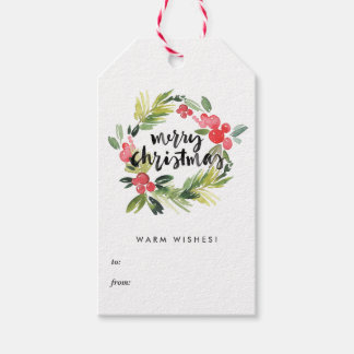 Watercolor Holly Wreath Merry Christmas Gift Tags Pack Of Gift Tags