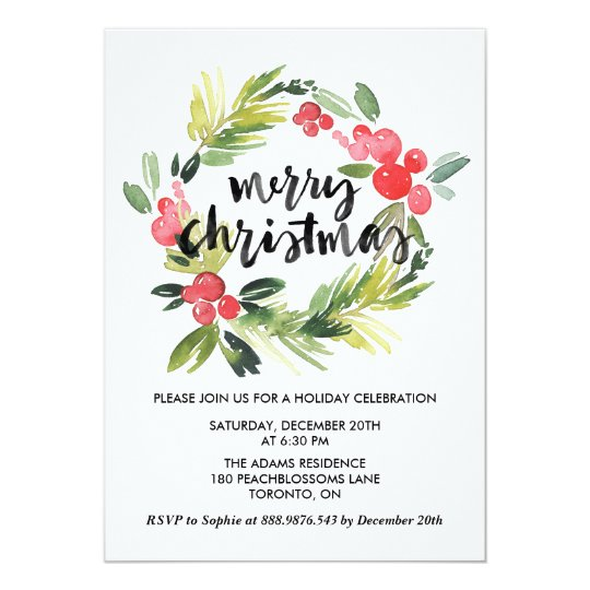 Watercolor Holly Wreath Merry Holiday Party Card