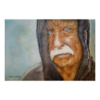 Watercolor Homeless Vietnam Veteran Soldier Poster