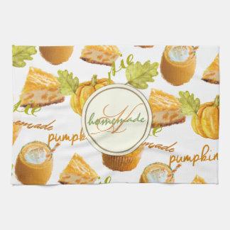 Watercolor Homemade Pumpkin Pie & Treats Monogram Kitchen Towel