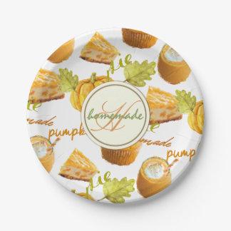Watercolor Homemade Pumpkin Pie & Treats Monogram Paper Plate
