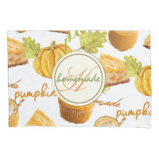 Watercolor Homemade Pumpkin Pie & Treats Monogram Pillowcase