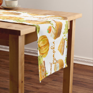 Watercolor Homemade Pumpkin Pie & Treats Monogram Short Table Runner
