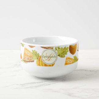 Watercolor Homemade Pumpkin Pie & Treats Monogram Soup Mug