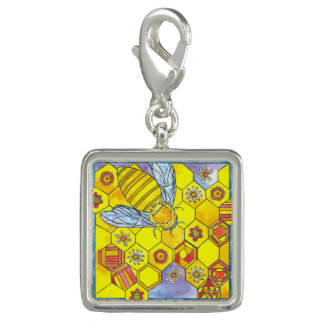 Watercolor Honey Bee Bright Yellow Photo Charms