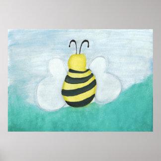 Watercolor Honeybee Print