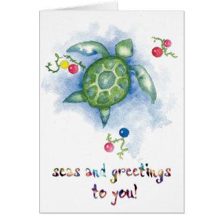Watercolor Honu Turtle Christmas Card