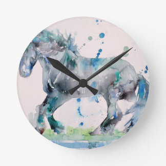 watercolor HORSE .2 Round Clock
