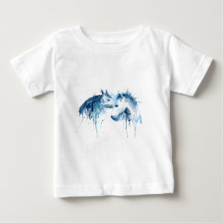 Watercolor horse kiss, horse love baby T-Shirt