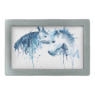 Watercolor horse kiss, horse love belt buckle