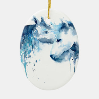 Watercolor horse kiss, horse love ceramic ornament
