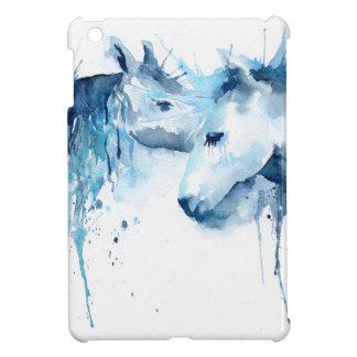 Watercolor horse kiss, horse love iPad mini case