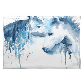 Watercolor horse kiss, horse love placemat