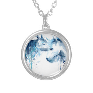 Watercolor horse kiss, horse love silver plated necklace