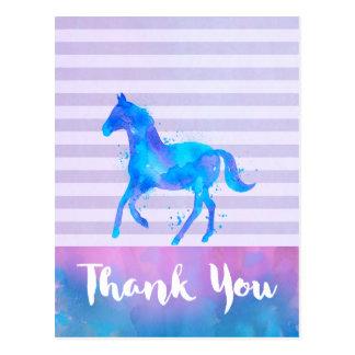 Watercolor Horse on Horizontal Stripes Thank You Postcard