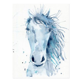 Watercolor horse portrait postcard