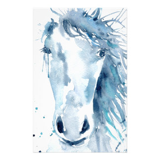 Watercolor horse portrait stationery