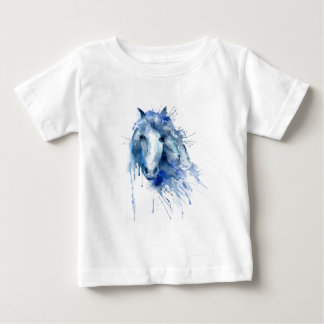 Watercolor horse Portrait with paint splatter Baby T-Shirt