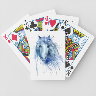 Watercolor horse Portrait with paint splatter Bicycle Playing Cards