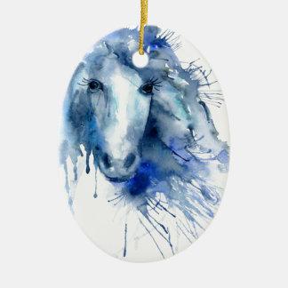 Watercolor horse Portrait with paint splatter Ceramic Ornament