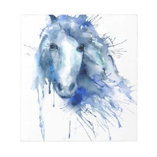 Watercolor horse Portrait with paint splatter Notepad