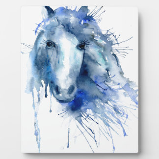 Watercolor horse Portrait with paint splatter Plaque